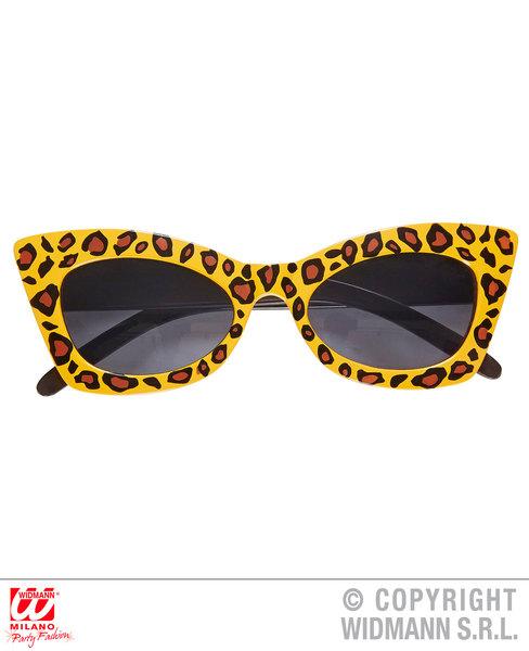 LEOPARD ROCKABILLY GLASSES Accessory for Spotty Cat Jungle Animal Fancy Dress