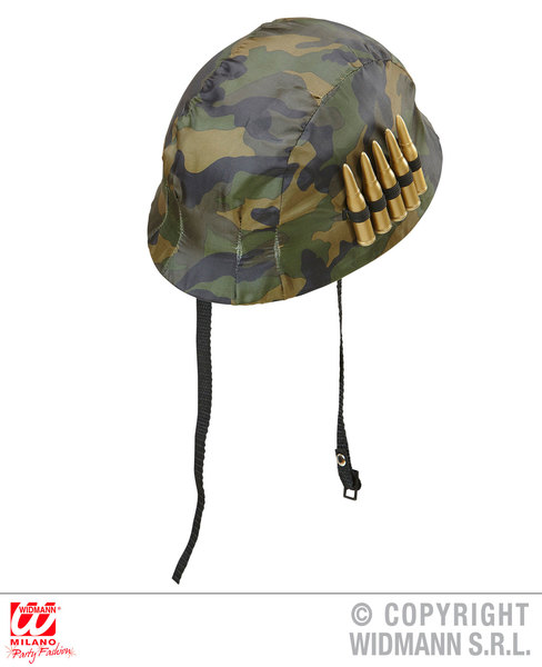 SOLDIER HELMET WITH BULLETS Hat Accessory for Army Military War Squaddie Private