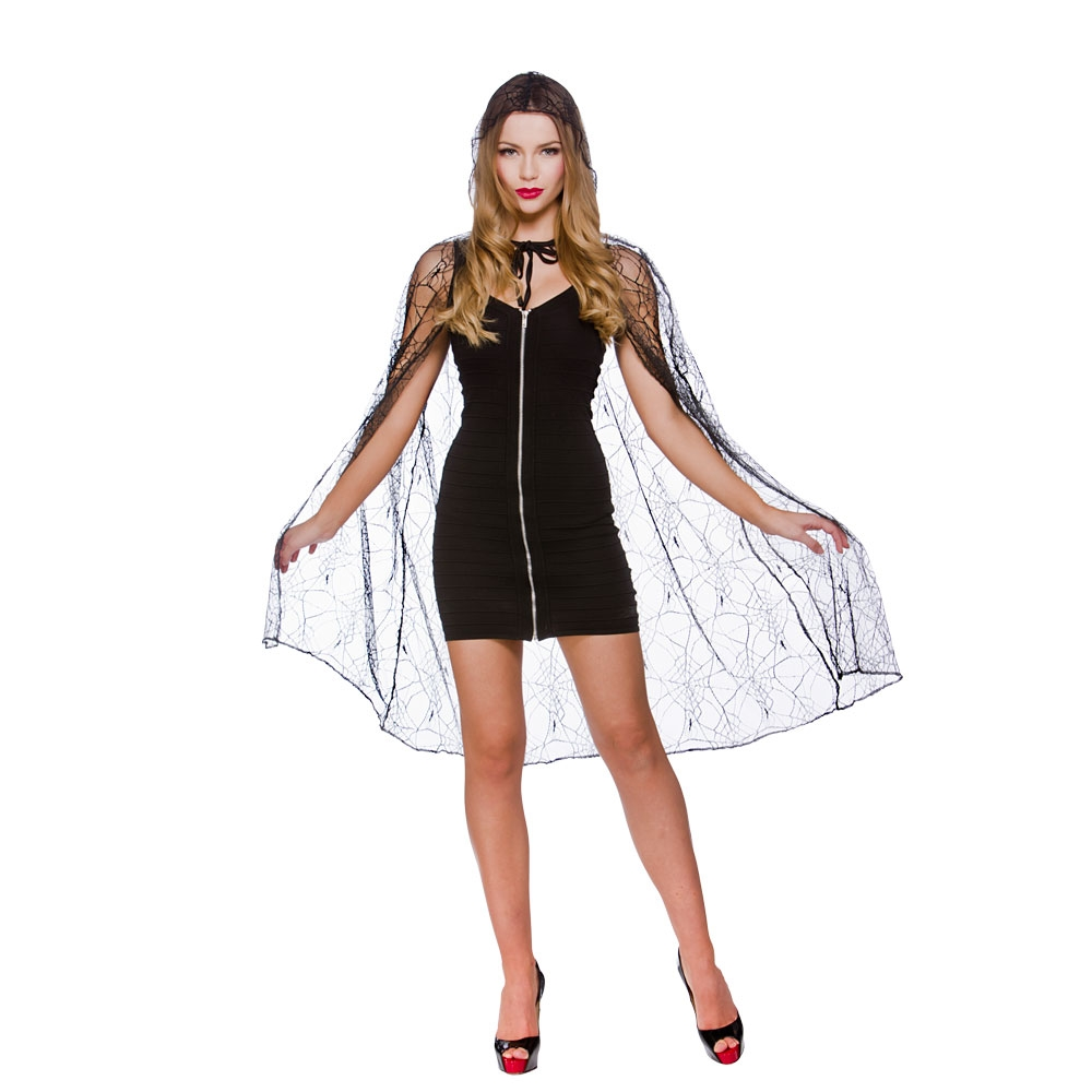 Adults Ladies Deluxe Spider Web Cape & Hood Costume for Insect Fancy Dress