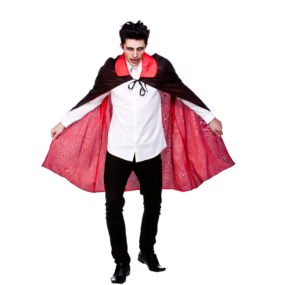 "Adults Mens Reversable Satin Cape With Collar 45"" (115cm) Super Hero Fancy Dress"