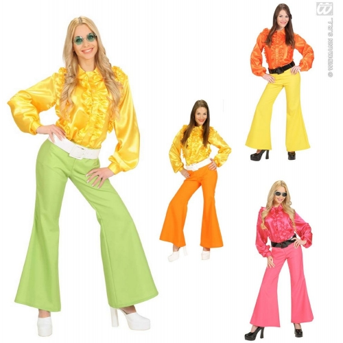 M Ladies M SIZE 1 of 3 Cols SATIN Costume for 70s Disco Hippie Fancy Dress Outfit Medium UK 10-12 Adults Female