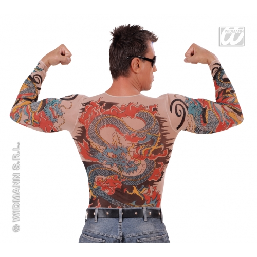 "Mens TATTOO SHIRT TIGER/DRAGON SFX for Cosmetics 40-44""chest Adults Male"