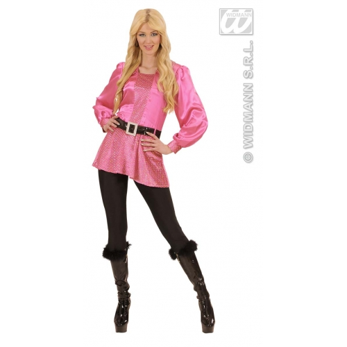 XL 60s PINK SEQUIN SHIRTS W/BELT WO Costume for 60s Rock n Roll Fancy Dress Outfit Extra Large