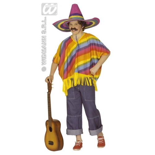 Multicolour Poncho Child Size for Mexican Wild West Fancy Dress