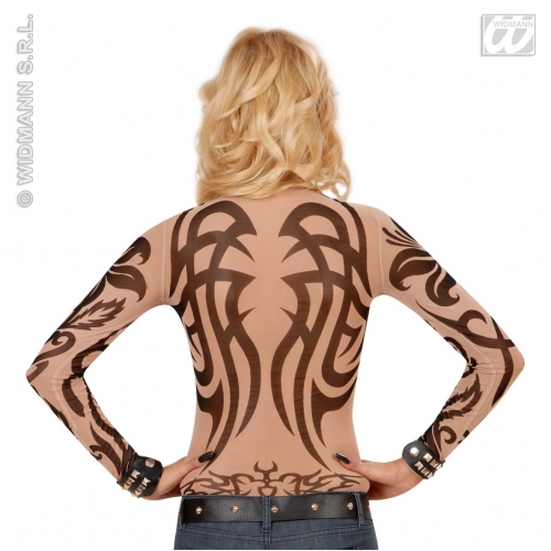 Ladies TATTOO SHIRT TRIBAL SFX for Native American Indian Cosmetics UK10-12 Adults Female