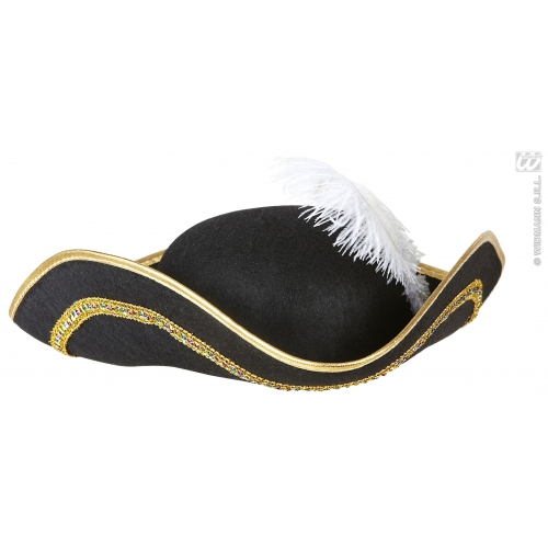 TRICORN W/ FEATHER FELT Hat Accessory for Pirate Dick Turpin Fancy Dress