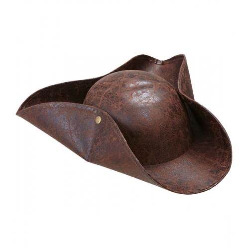 PIRATE TRICORN LEATHERLOOK Hat Accessory for Buccaneer Sailor Jack Blackbeard Fa