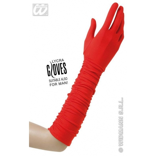 Ladies Red PLISSE LYCRA 40s 50s GLOVES Accessory for 40s WWII Fourties Fancy Dress 1Size Adults Female