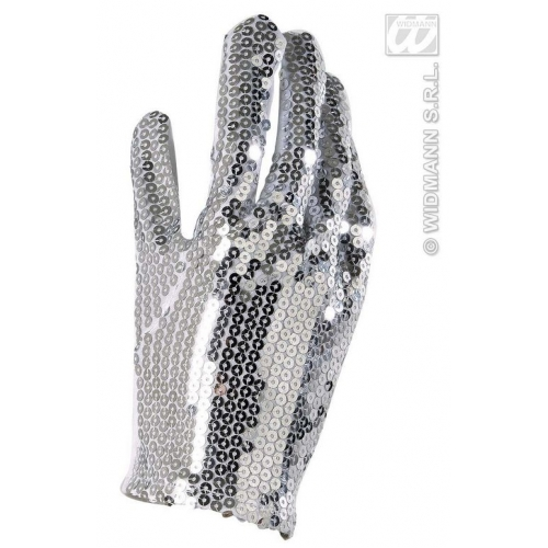 Ladies SEQUIN GLOVE SINGLE SILVER Accessory for Fancy Dress 1Size Adults Female