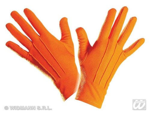 Ladies Orange 40s 50s GLOVES SHORT Accessory for 40s WWII Fourties Fancy Dress 1Size Adults Female