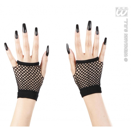 Ladies Black FINGERLESS FISHNET GLOVES for Sexy Adult Role Play Fancy Dress 1Size Adults Female