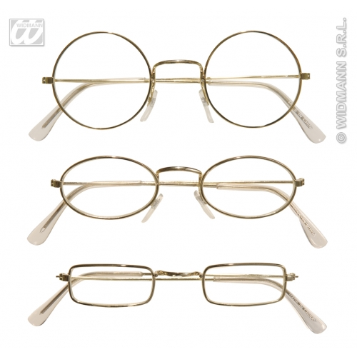 METAL GLASSES GOLD W/LENSES 1 of 3 styles Accessory for 80s 90s Rock Grunge Pop