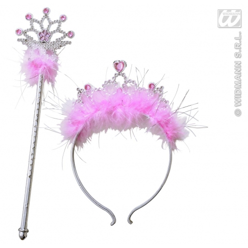 JEWELLED TIARA & WAND WITH MARABOU Hat Accessory for Princess Fairy Queen Fancy Dress