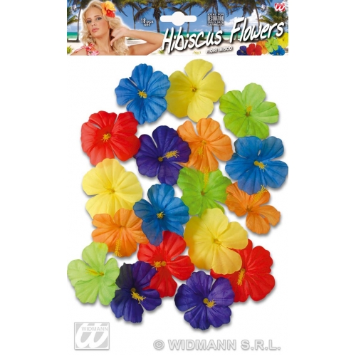 HIBISCUS FLOWERS 18PC LEIS Accessory for Hawaiian Beach Summer Fancy Dress Party