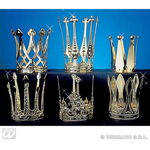 1 CROWN ALUMINIUM GOLD Accessory for Royal Regal Ruler Fancy Dress