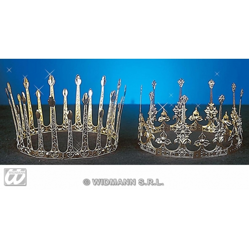 DELUXE CROWN ALUMINIUM 1 of 2 styles Accessory for Royal Regal Ruler Fancy Dress