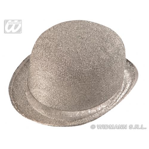 SILVER LAME FELT BOWLER Hat Accessory for Laurel hardy Victorian Fancy Dress