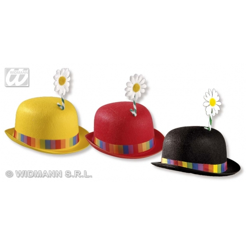 CLOWN BOWLER HAT W/FLOWER 1 of 3 colours Accessory for Circus FunFair Parade Fancy Dress