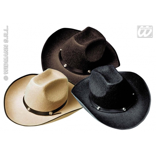 FELT COWBOY HAT W/BOLT 1 of 3 colours Accessory for American Wild West & Indians Fancy Dress