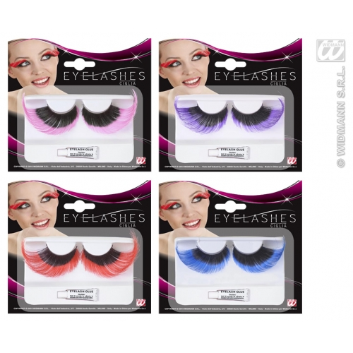 BLACK W/COLOUR TIP 1 of 4 colours EYELASHES EXTRALONG SFX for Cosmetics