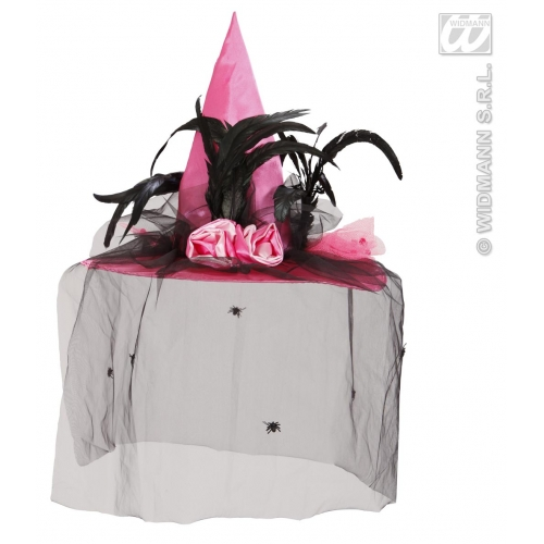 WITCH HAT PINK W/SPIDER VEIL Accessory for Halloween Oz Eastwick Fancy Dress