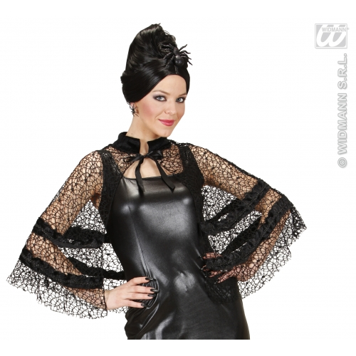 BLACK WIDOW CAPELET Accessory for Victorian Halloween Fancy Dress