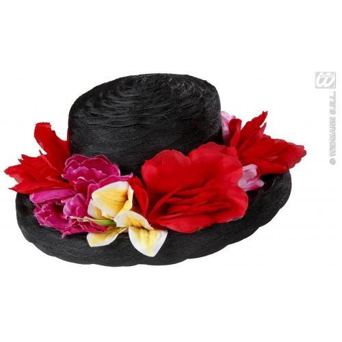 Ladies 20s BLACK LADY HAT WITH FLOWERS Accessory for 20s Gangsters & Molls Fancy Dress Adults Female