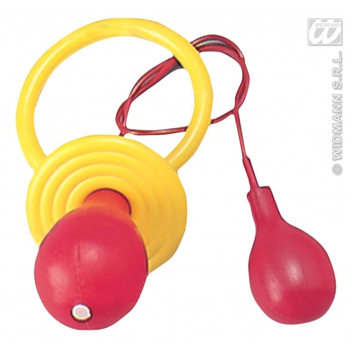 1 GIANT SQUIRT PACIFIER yellow/red Accessory for Dummy Soother Fancy Dress