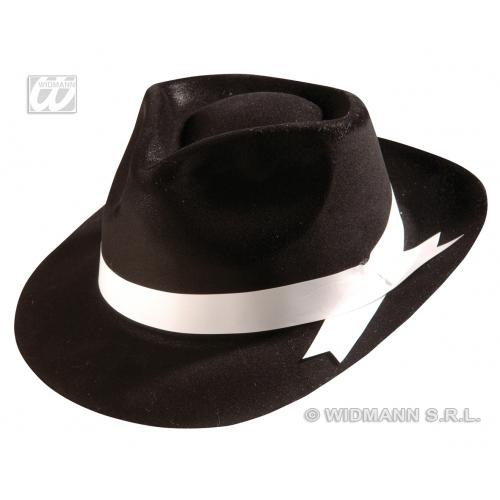 FLOCKED BLACK GANGSTER HAT Accessory for 20s 30s Mobster Mob Criminal Fancy Dress
