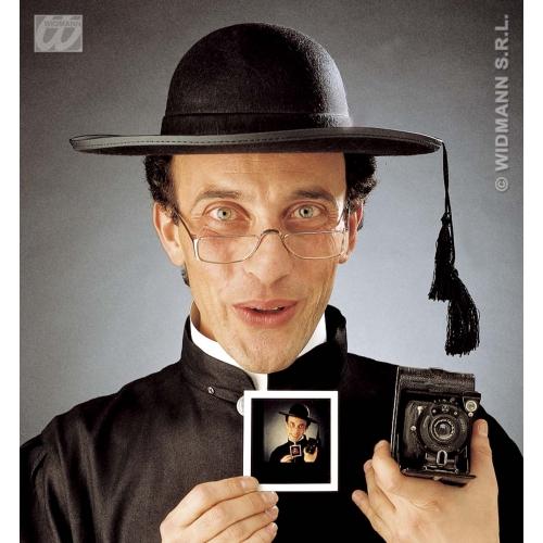 PRIEST HAT FELT W/RIM Accessory for Bishop Father Friar Religious Fancy Dress