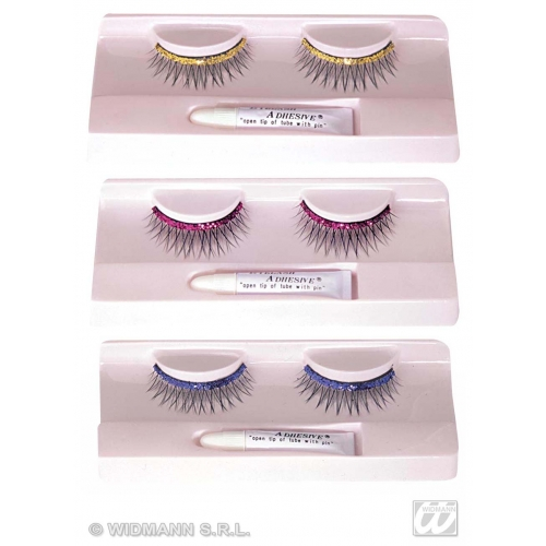 GLITTER EYELASHES WITH ADHESIVE 1 of 3 colours SFX for Cosmetics