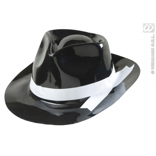 PVC GANGSTER HAT WITH WHITE BAND Accessory for 20s 30s Mobster Mob Criminal Fancy Dress