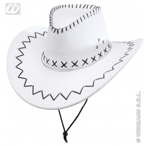 SUEDELOOK WHITE COWBOY HAT Accessory for American Wild West & Indians Fancy Dress