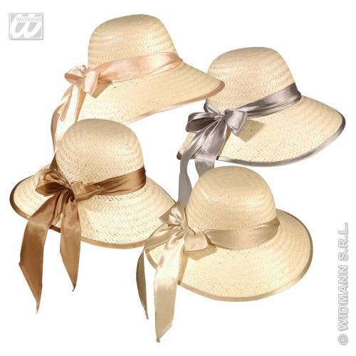 STRAW CHICAGO HAT W/RIBBON Disposable for 20s 30s Gangster Party Tableware