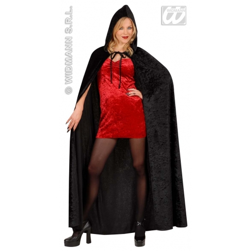 HOODED CAPE BLACK VELVET 150cm Accessory for Superhero Villian Super Hero Fancy Dress