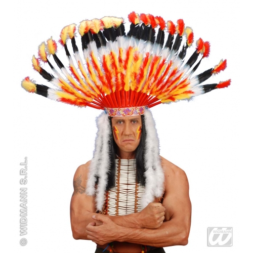 DELUXE INDIAN HEADGEAR Accessory for Native Wild West American Cowboys Fancy Dress
