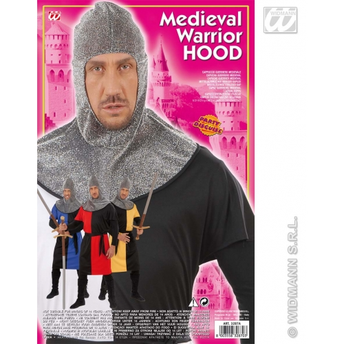 ADULT SIZE Mens MEDIEVAL WARRIOR HOOD METALLIC Accessory for Middle Dark Ages Fancy Dress Adults Male