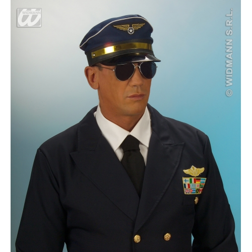PILOT HAT ADJUSTABLE Accessory for Airman Air Crew Captain Biggles WWII Officer Fancy Dress