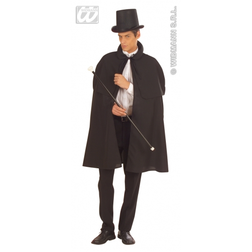 BLACK HEAVY FABRIC W/TIPPET DETECTIVE CAPE Accessory for Policeman Police Cop DI Inspector Sherlock Fancy Dress