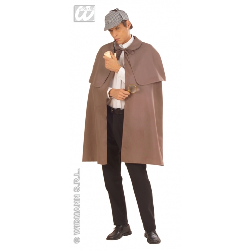 GREY HEAVY FABRIC W/TIPPET DETECTIVE CAPE Accessory for Policeman Police Cop DI Inspector Sherlock Fancy Dress