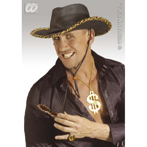 COWBOY HAT BLACK L/LOOK W/LEOPARD TRIM Accessory for American Wild West & Indians Fancy Dress