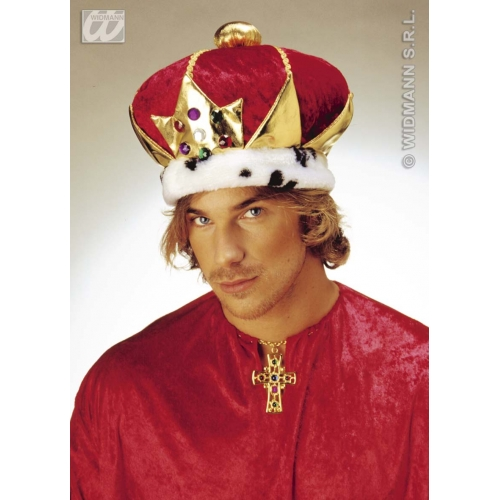 KINGS CROWN DELUXE VELVET Accessory for Royal Regal Ruler Fancy Dress