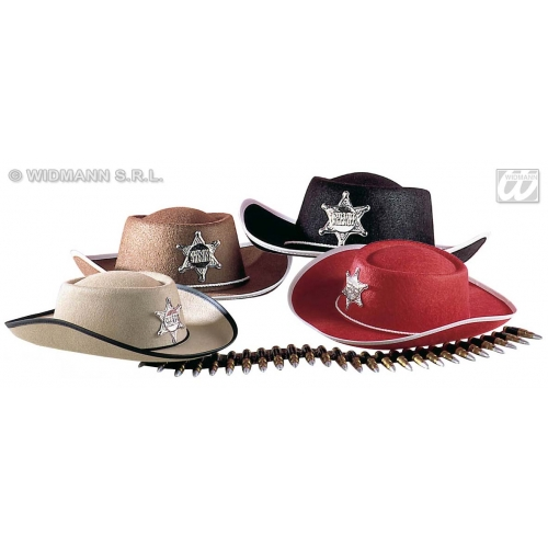 Boys COWBOY HAT FELT SIZE Accessory for American Wild West & Indians Fancy Dress Childs Kids
