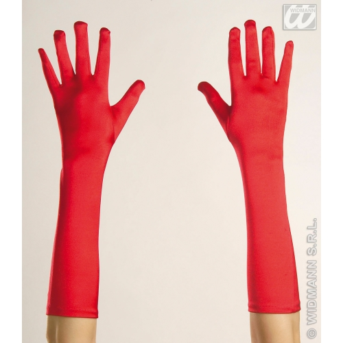 Adult Unisex 50s GLOVES SATIN 43cm RED Accessory for 50s Rockabilly Fifties Fancy Dress 1Size Unisex Mens