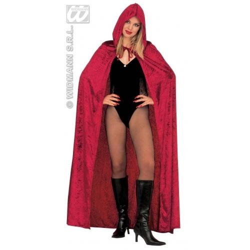 HOODED VELVET CAPE 120 cm RED Accessory for Superhero Villian Super Hero Fancy Dress