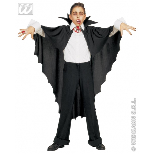 VAMPIRE CAPE W/STAND UP COLLAR BLACK Accessory for Dracula Vamp Halloween Fancy Dress