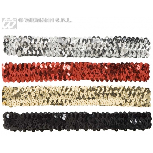 1 SEQUIN HEADBAND gold/silver/red/black Hat Accessory for Fancy Dress