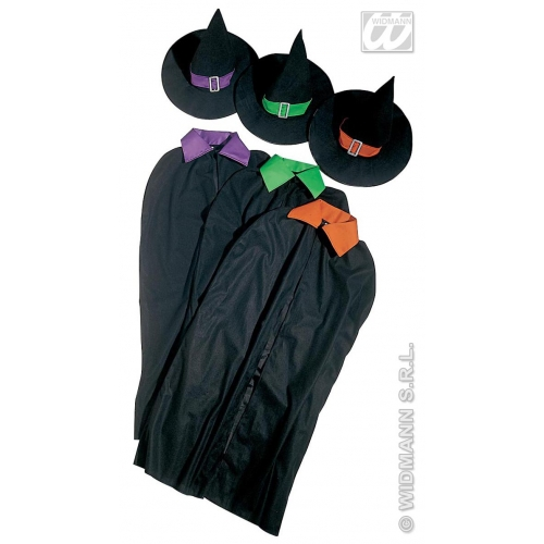 WITCH SET 1 of 3 colours cape hat Accessory for Halloween Oz Eastwick Fancy Dress