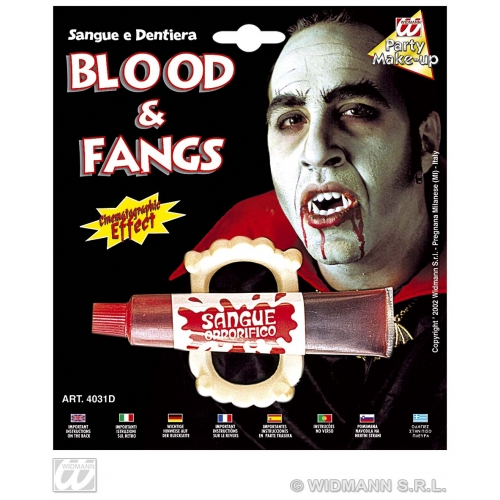 BLOOD TUBES WITH FANGS SFX for Bleeding Wound Vampire Cosmetics