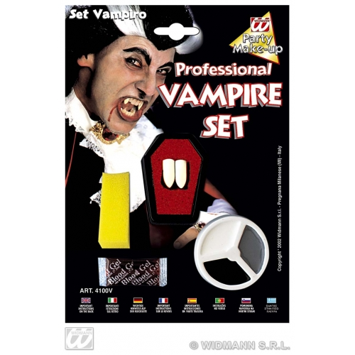 DRACULA MAKEUP SET WITH FANGS SFX for Vampire Bat Halloween Cosmetics